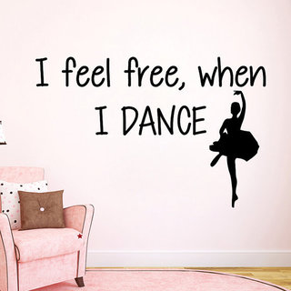 Wall Decals I Feel Free When I Dance Girl Ballerina Sticker Mural Interior Girl Bedroom Sticker Decal size 22x35 Color Black