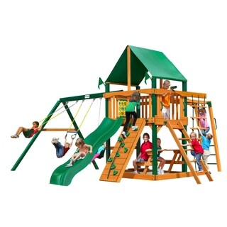 Gorilla Playsets Navigator Cedar Swing Set with Green Vinyl Canopy and Timber Shield Posts