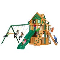 Gorilla Playsets Chateau Clubhouse Treehouse Cedar Swing Set with Timber Shield Posts