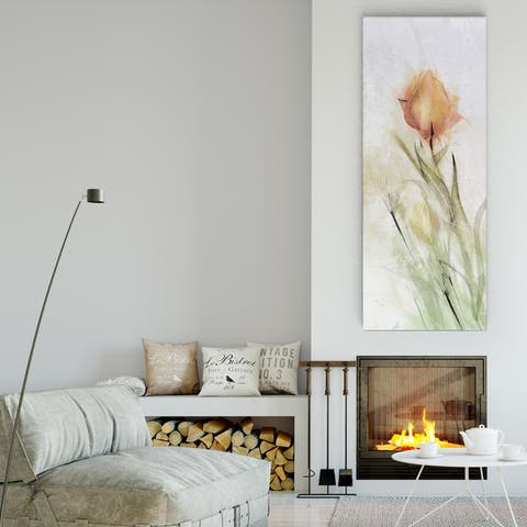 Mike Calascibetta 'Tulip Breeze I' Canvas Premium Gallery-wrapped Wall Art