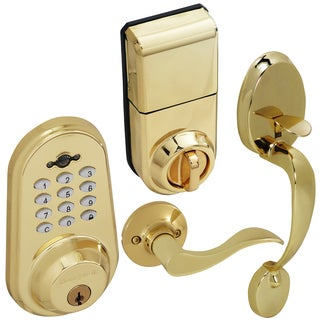 Honeywell Digital Lever Handleset with Remote in Polished Brass