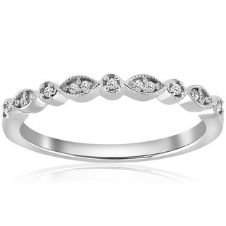 14K White Gold 1/6 ct TDW Diamond Stackable Womens Wedding Anniversary Ring