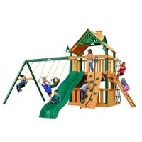 Gorilla Playsets Chateau Clubhouse Cedar Swing Set with Timber Shield Posts