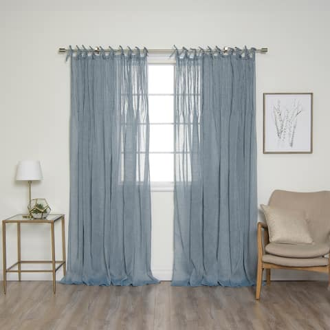 """Aurora Home Tie Top Pinch Pleat Faux Pippin Linen 84"""" Curtain Panel"""