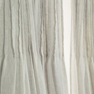 Aurora Home Tie Top Pinch Pleat Faux Pippin Linen 84-inch Curtain Panel
