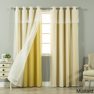Aurora Home Tulle Sheer with Attached Valance and Solid Blackout 4 piece Curtain Panel Set (Mustard - 52 X 96)