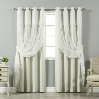 Aurora Home Tulle Sheer with Attached Valance and Solid Blackout 4 piece Curtain Panel Set