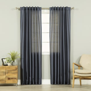 Aurora Home Faux Silk Candy Stripe Back Tab/Rod Pocket Curtain Panel Pair