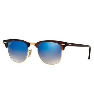 Ray-Ban RB3016 990/7Q Clubmaster Tortoise Frame Blue Gradient Flash 49mm Lens Sunglasses