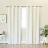 Aurora Home Solid Cotton Blend Blackout Silver Grommet Curtain Pair - 52 x 84