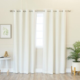 Aurora Home Solid Cotton Blend Blackout Silver Grommet Curtain Panel Pair - 52 x 84 (5 options available)