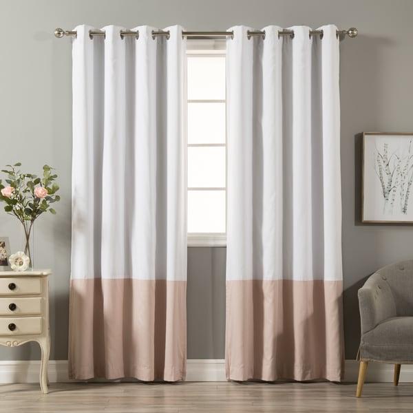 Aurora Home Color Block Cotton Blend Blackout Curtain Panel Pair - 52 x 84