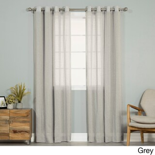 Aurora Home Pippin Linen Silver Grommet Top 84-inches Curtain Panel Pair - 52 x 84 (5 options available)