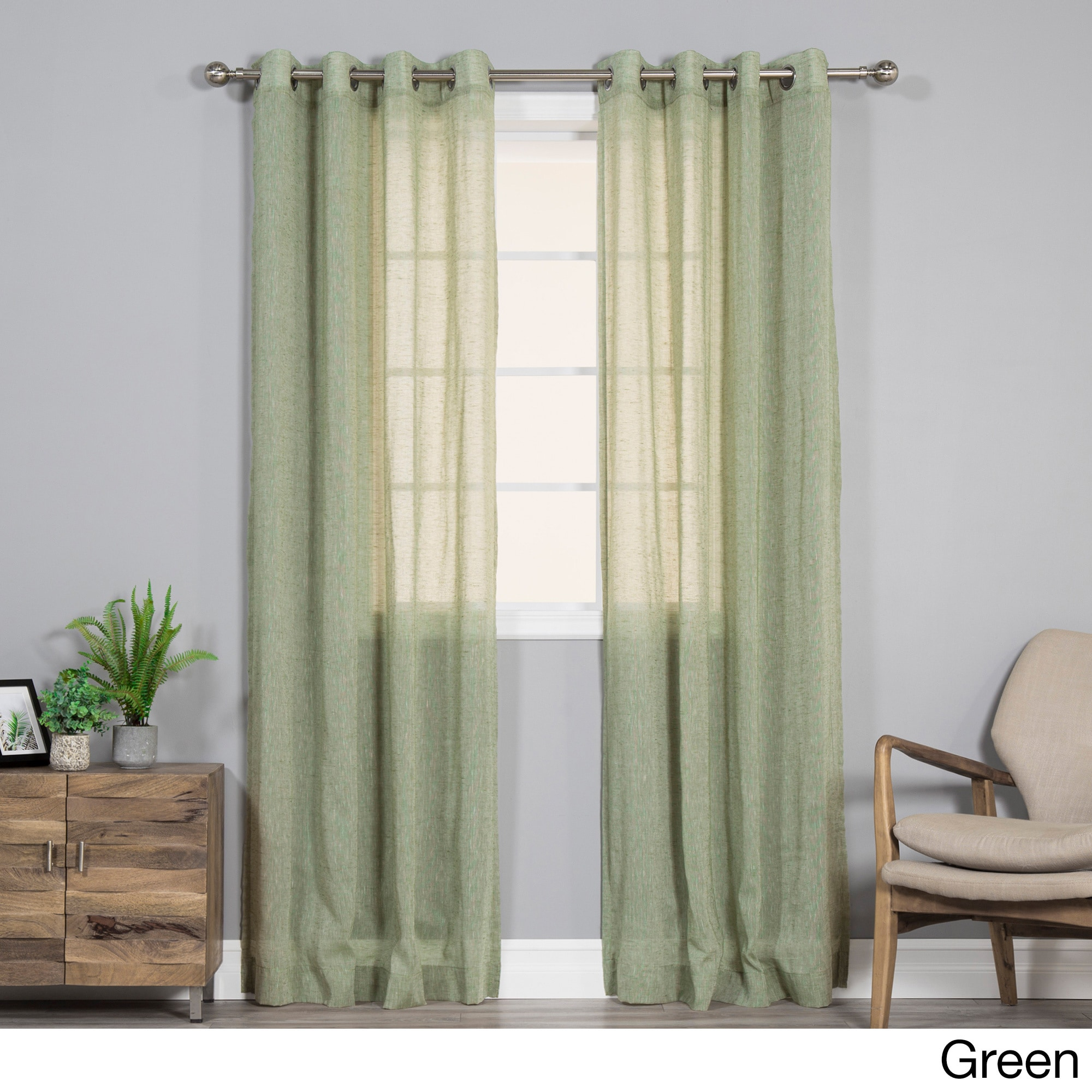 Aurora Home Pippin Linen Silver Grommet Top 84-inches Cur...