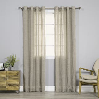 Aurora Home Pippin Linen Silver Grommet Top 84-inches Curtain Panel Pair - 52 x 84|https://ak1.ostkcdn.com/images/products/14277090/P20862621.jpg?impolicy=medium