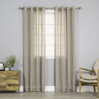 Aurora Home Pippin Linen Silver Grommet Top 84-inches Curtain Panel Pair - 52 x 84