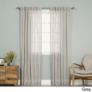 Aurora Home Pippin Linen Rod Pocket 84-inches Curtain Panel Pair - 52 x 84 (4 options available)
