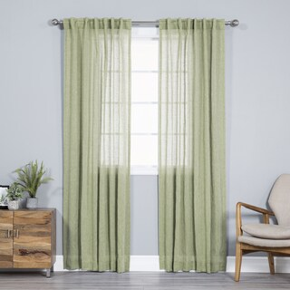 Aurora Home Pippin Linen Rod Pocket 84-inches Curtain Panel Pair