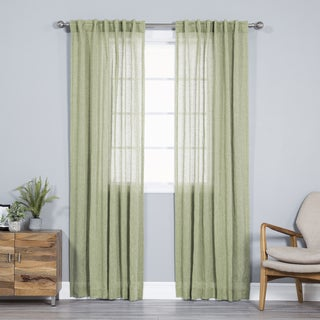 Aurora Home Pippin Linen Rod Pocket 84-inches Curtain Panel Pair - 52 x 84