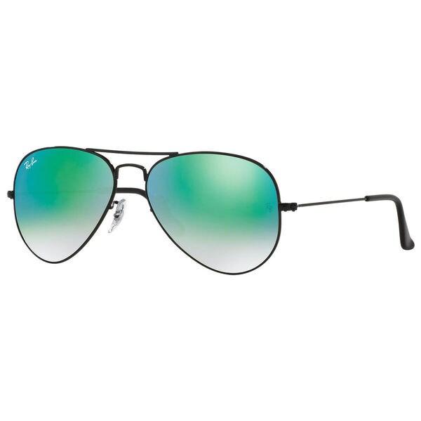 6c8834cf8d Ray-Ban RB3025 002 4J Aviator Black Frame Green Gradient Flash 58mm Lens  Sunglasses