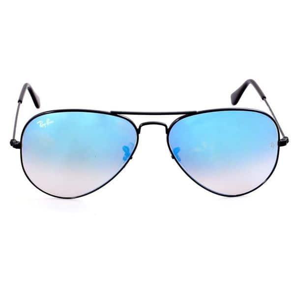 381535ede585b Ray-Ban RB3025 002 4O Aviator Black Frame Blue Gradient Flash 58mm Lens  Sunglasses