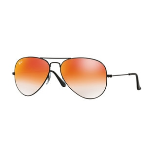 Ray-Ban RB3025 002/4W Aviator Black Frame Orange Gradient Flash 58mm Lens Sunglasses