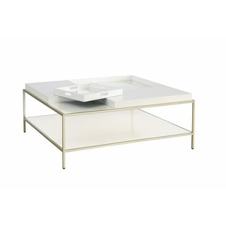 Contemporary Glam White Hemming Square Coffee Table