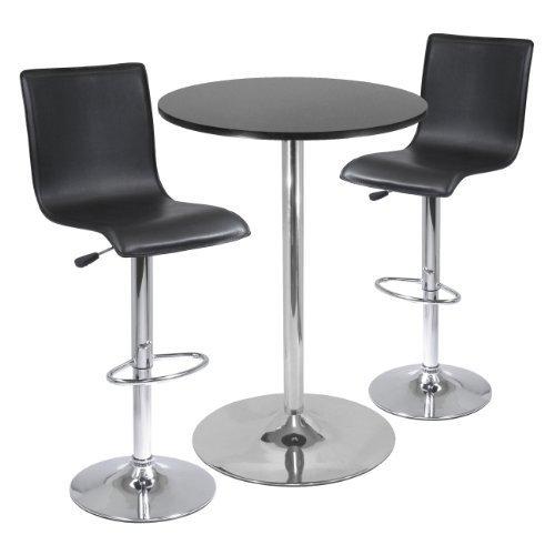Spectrum 3-piece Pub Table Set, 28-inch Round Table with 2 L-Shape Airlfit Stools