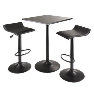 Obsidian 3pc Table Set, Square Table Counter Height with 2 Airlift Stools all Black
