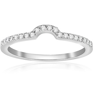 14K White Gold 1/6 ct TDW Diamond Stackable Notched Curved Wedding Anniversary Ring