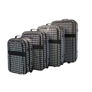 Dumont Houndstooth 4-Piece Expandable Lightweight Wheeled Luggage Set