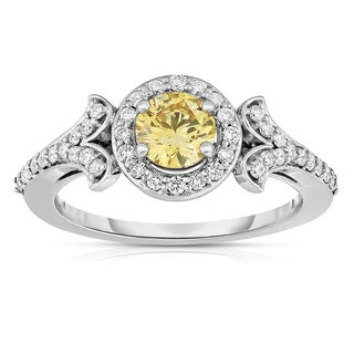 Solaura Collection 14k White Gold 1ct TDW Brilliant-cut Lab-grown Diamond Halo Ring (Yellow, SI)