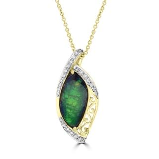 La Vita Vital 14k Yellow Gold Ammolite and 1/4ct TDW White Diamond Pendant Necklace (G-H, VS2-SI1)