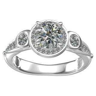 Sterling-silver 1-ct Round Center 30 0.41-tcw Side Cubic Zirconia Classic Engagement Ring
