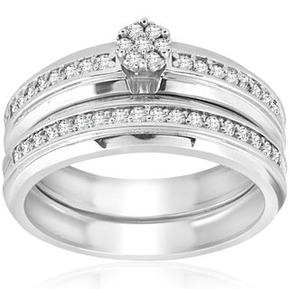 10K White Gold 3/8 ct TDW Diamond Engagement Matching Wedding Ring Set