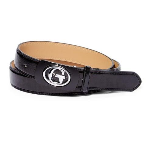 Black Leather Silverstone Letter 'G' Magnetic Frame Belt
