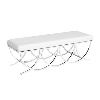 Contemporary White Upholstered Living Room Metal Bench