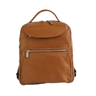 Piel Leather Solid-colored Leather Backpack with Large Front Pockets