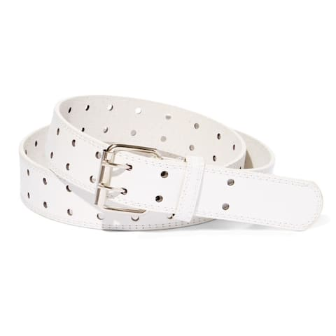 E.M.P. Double Prong Unisex White Leather Dress Belt
