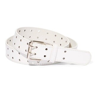 E.M.P. Double Prong Unisex White Leather Dress Belt