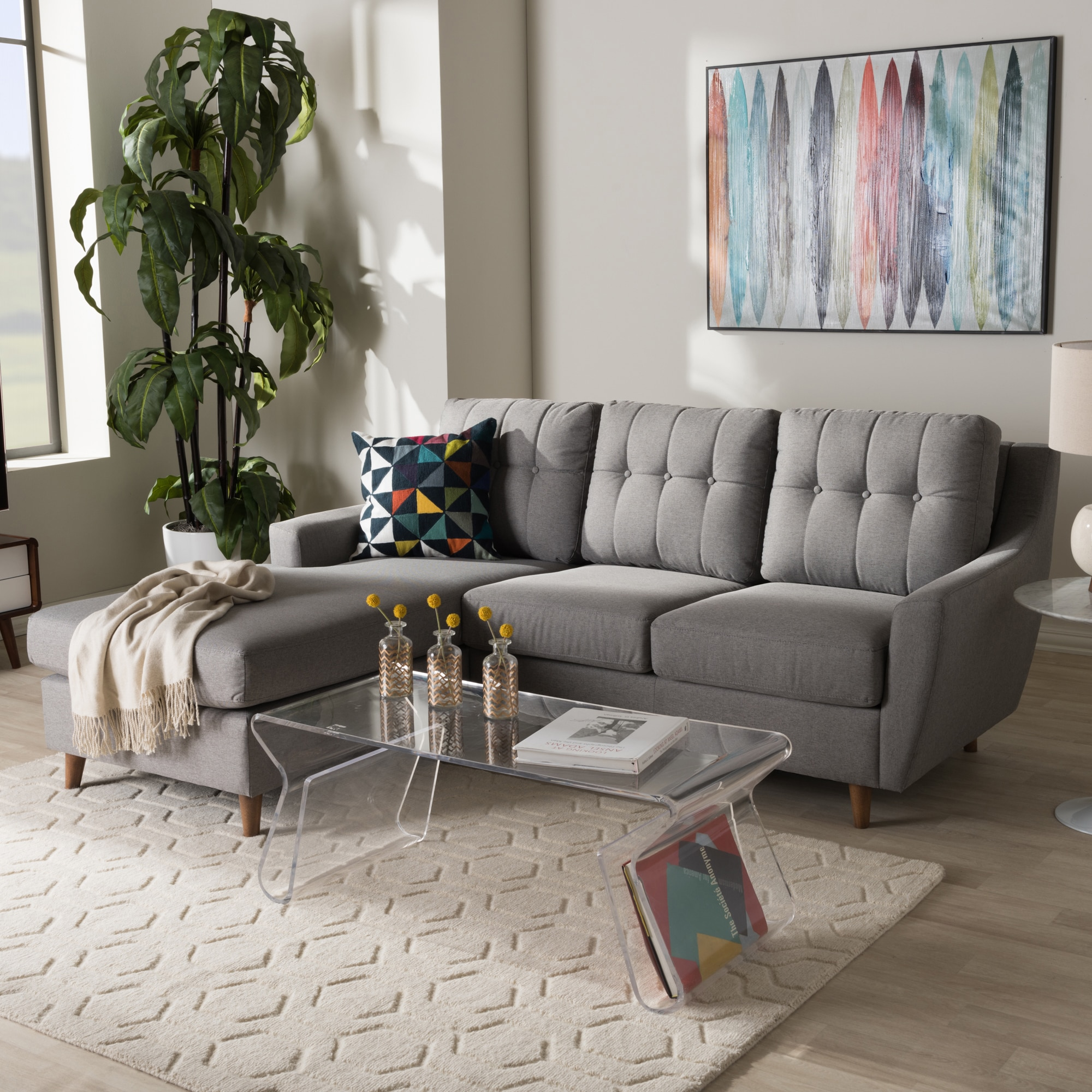Outstanding Mid Century Fabric 2 Piece Sectional Sofa By Baxton Studio Camellatalisay Diy Chair Ideas Camellatalisaycom