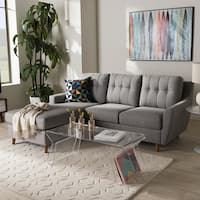 Mid-Century Fabric 2-piece Sectional Sofa by Baxton Studio