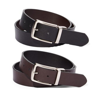 E.M.P. Men's Reversible Black and Brown Leather Short-frame Belt