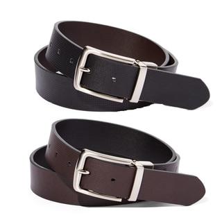 E.M.P. Men's Reversible Black and Brown Leather Short-frame Belt