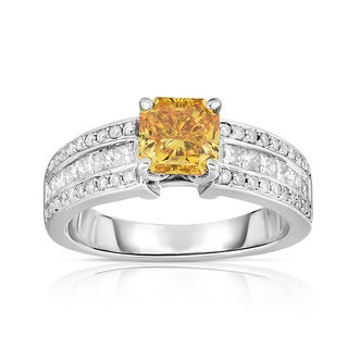 Solaura Collection 14k White Gold 2 1/4ct TDW Fancy Yellow Radiant-cut Lab-grown Diamond Ring (Yellow, I1)