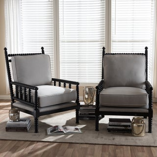 Contemporary Fabric Upholstered Chair 2-piece Set by Baxton Studio