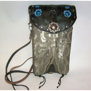 Cowboy Boot Black and Silver Cross-Body Hipster Bag