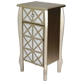 Mirrored Single Drawer Wooden Cabinet