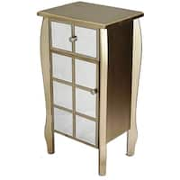 Transitional Mirrored Single Door Accent Cabinet