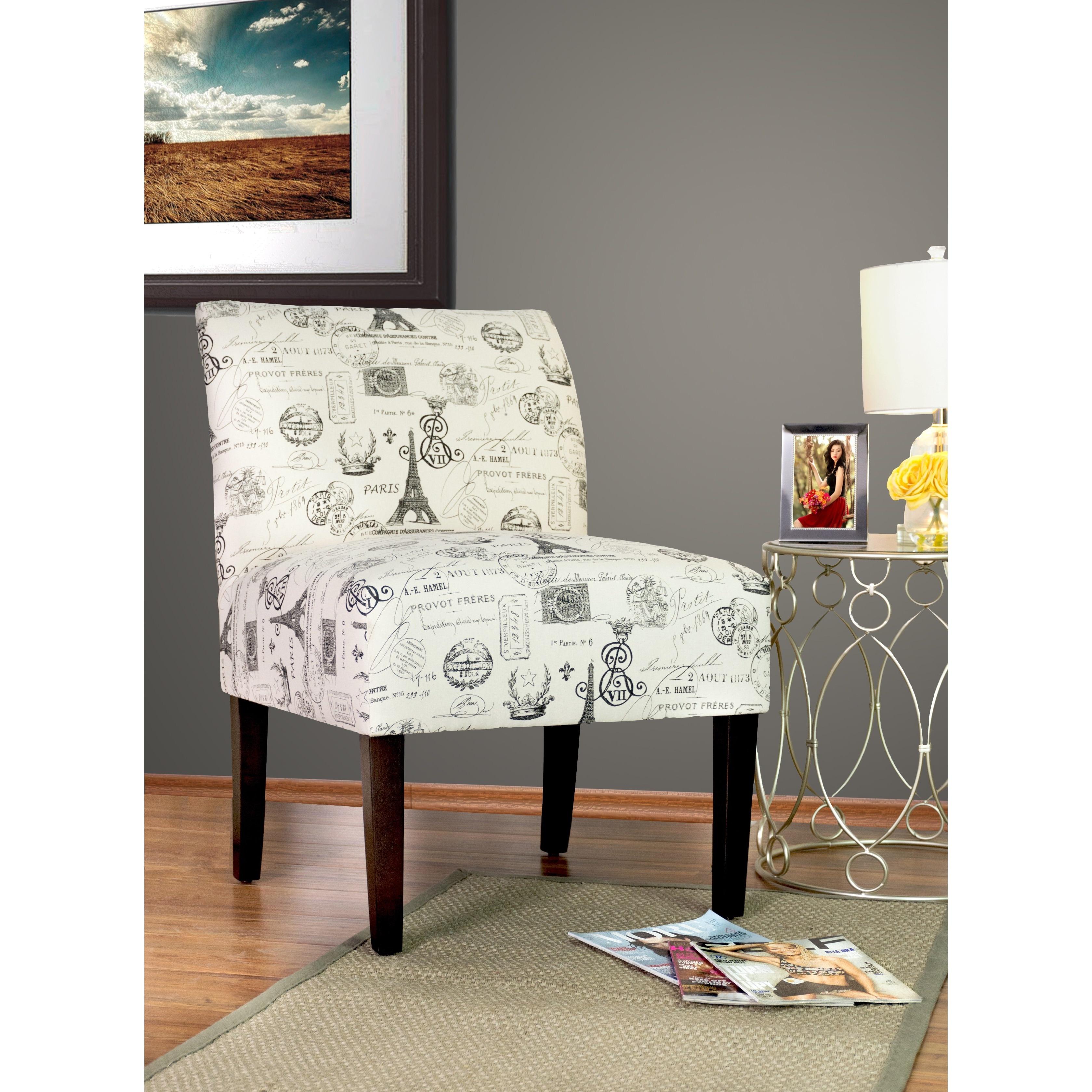 Samantha French Stamp Onyx - Espresso Leg - Accent Chair ...